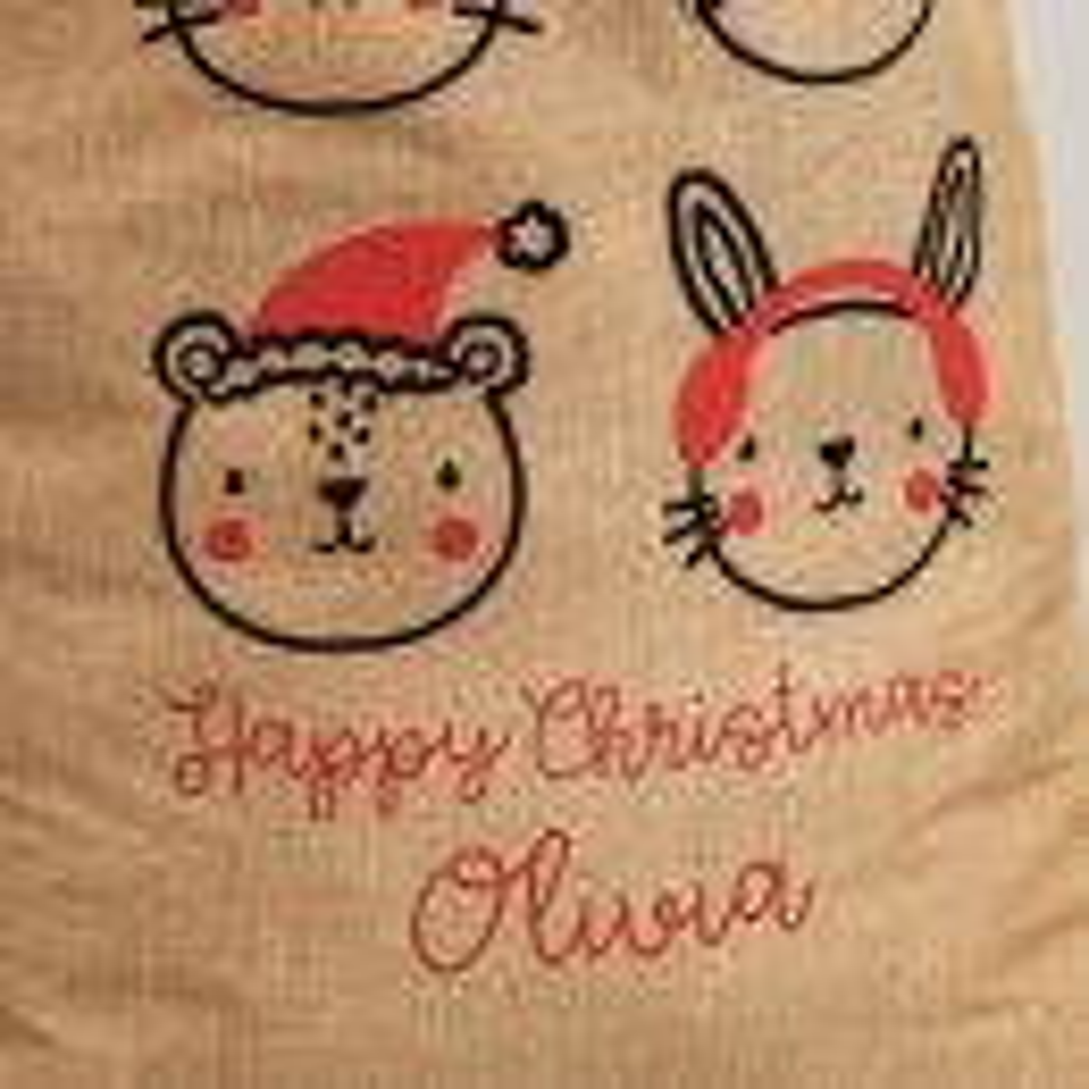 Personalised Festive Animal Hessian Christmas Sack - Personalisation