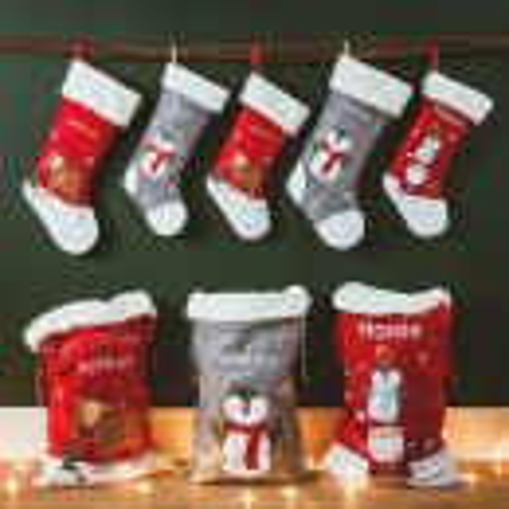 Personalised Small Fur Top Santa & Penguin Stocking Styled