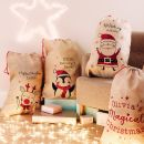 Personalised Penguin Design Hessian Christmas Sack Styled