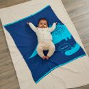 Personalised Blue Dinosaur Knitted Intarsia Blanket Model