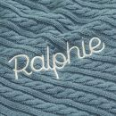 Personalised Navy Blue Fur Lined Cable Knit Blanket Personalisation