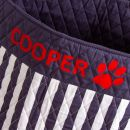 Personalised Large Navy Striped Pets Storage Bag Personalisation